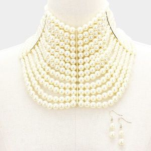 Multi Strand Pearl Collar Choker necklace Offwite